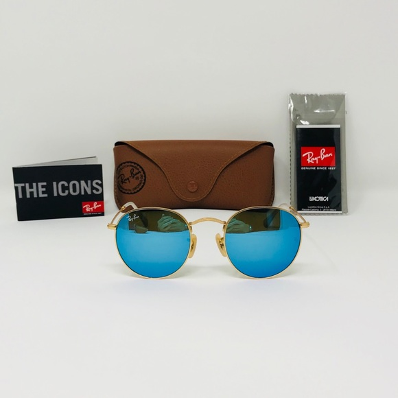 4438b6d8a6 Ray-Ban 50mm RB3447 Golden   Blue Round sunglasses
